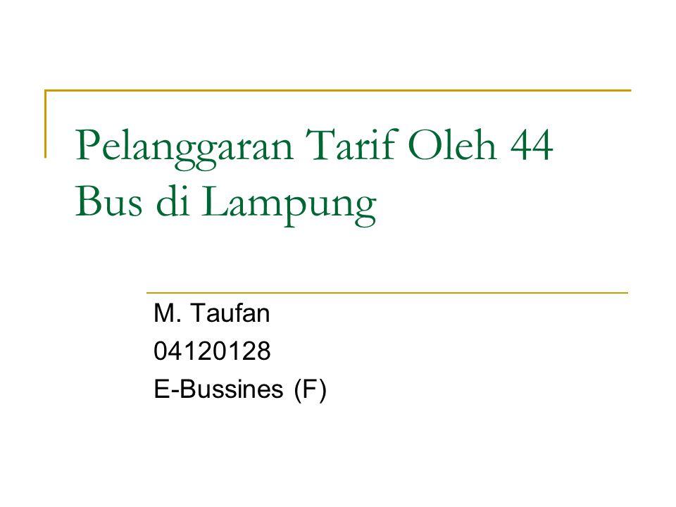 Permasalahan LAMPUNG - Dinas Perhubungan (Dishub) Lampung menemukan 44 kasus pelanggaran tarif angkutan Lebaran sejak H-7 Idul Fitri hingga hari ini.