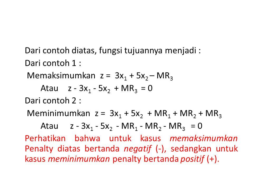 Dari contoh diatas, fungsi tujuannya menjadi : Dari contoh 1 : Memaksimumkan z = 3x 1 + 5x 2 – MR 3 Atau z - 3x 1 - 5x 2 + MR 3 = 0 Dari contoh 2 : Me