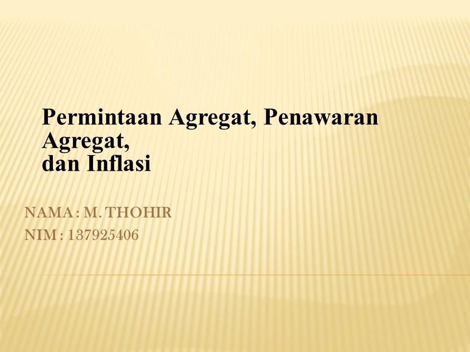 NAMA : M. THOHIR NIM : 137925406 Permintaan Agregat, Penawaran Agregat, dan Inflasi