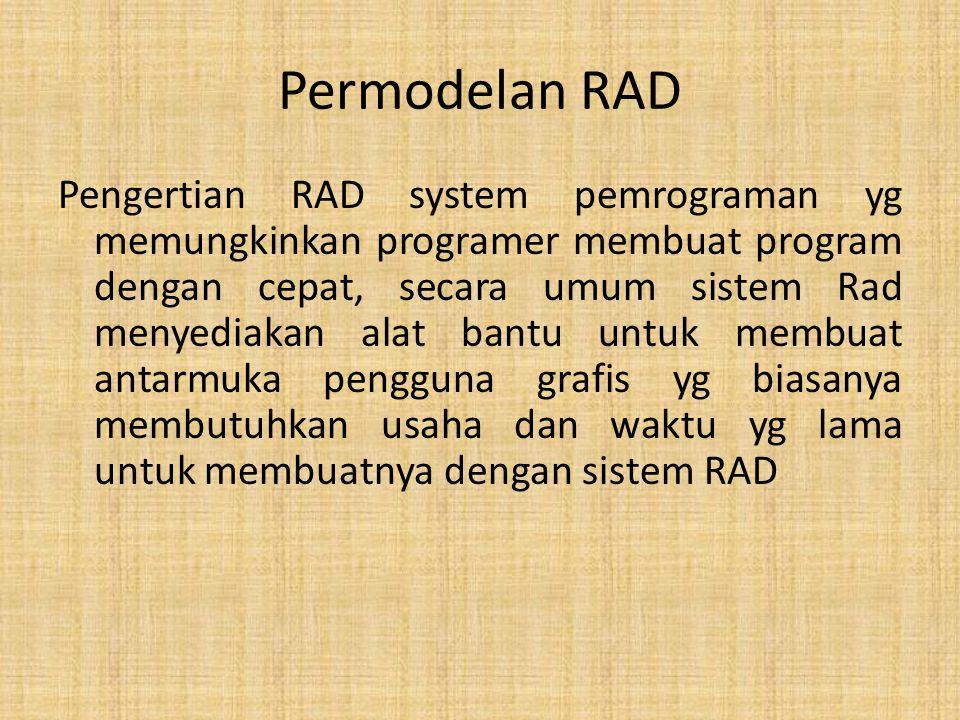 Permodelan RAD Pengertian RAD system pemrograman yg memungkinkan programer membuat program dengan cepat, secara umum sistem Rad menyediakan alat bantu untuk membuat antarmuka pengguna grafis yg biasanya membutuhkan usaha dan waktu yg lama untuk membuatnya dengan sistem RAD
