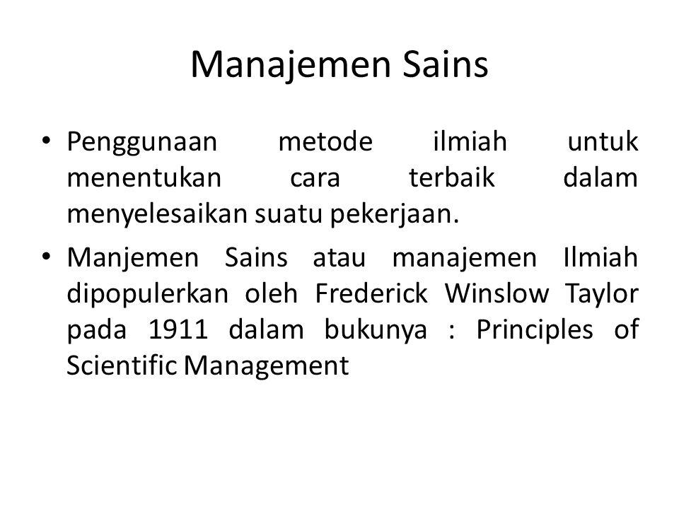 Manajemen Sains Penggunaan metode ilmiah untuk menentukan cara terbaik dalam menyelesaikan suatu pekerjaan. Manjemen Sains atau manajemen Ilmiah dipop