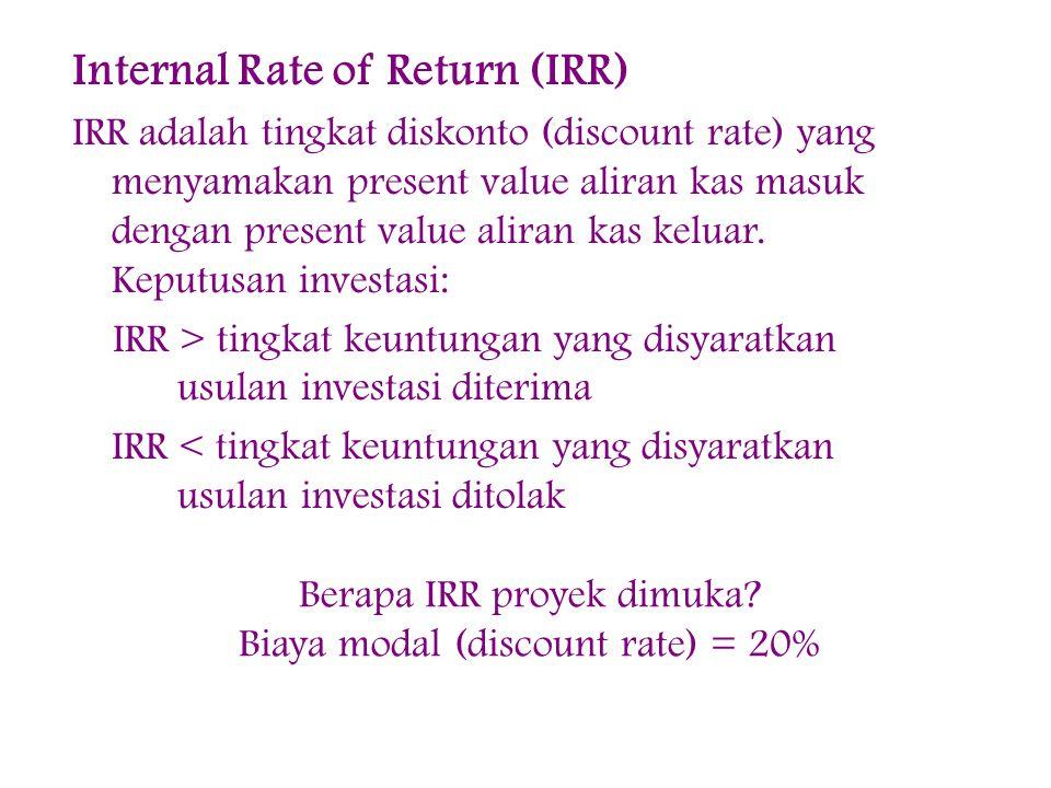 Internal Rate of Return (IRR) IRR adalah tingkat diskonto (discount rate) yang menyamakan present value aliran kas masuk dengan present value aliran kas keluar.