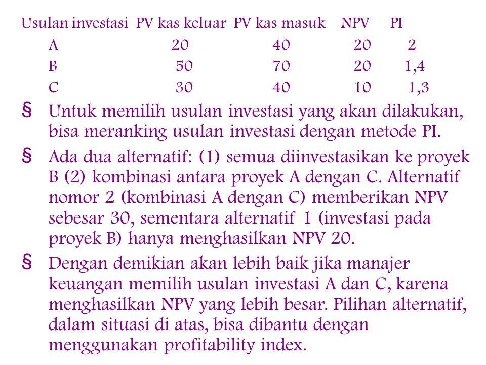 Usulan investasi PV kas keluar PV kas masuk NPV PI A 20 40 20 2 B 50 70 20 1,4 C 30 40 10 1,3 § Untuk memilih usulan investasi yang akan dilakukan, bisa meranking usulan investasi dengan metode PI.