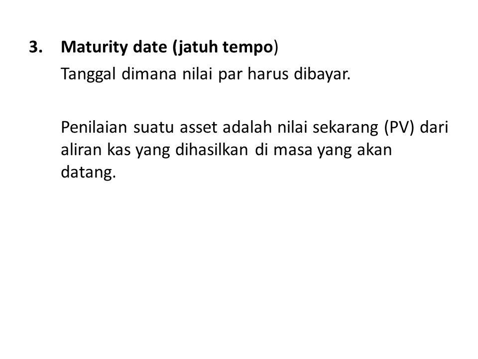 3.Maturity date (jatuh tempo) Tanggal dimana nilai par harus dibayar.