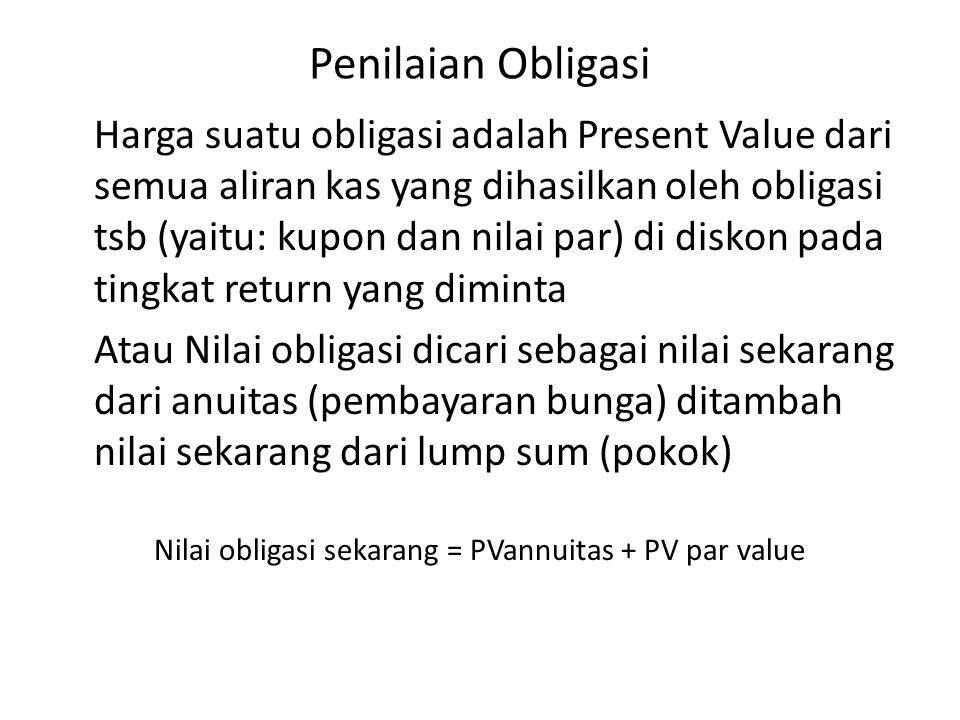 Penilaian Obligasi Harga suatu obligasi adalah Present Value dari semua aliran kas yang dihasilkan oleh obligasi tsb (yaitu: kupon dan nilai par) di d