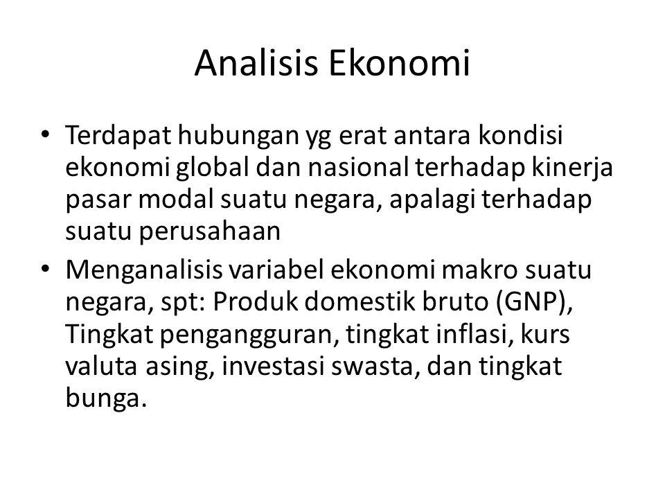 Analisis Ekonomi Terdapat hubungan yg erat antara kondisi ekonomi global dan nasional terhadap kinerja pasar modal suatu negara, apalagi terhadap suat