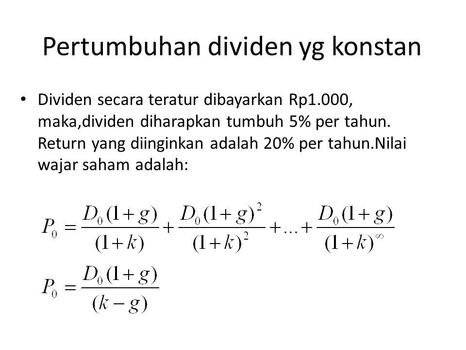 Pertumbuhan dividen yg konstan Dividen secara teratur dibayarkan Rp1.000, maka,dividen diharapkan tumbuh 5% per tahun. Return yang diinginkan adalah 2
