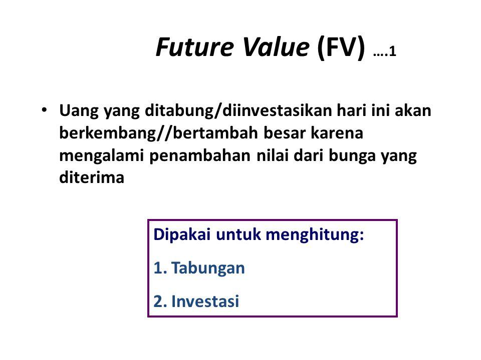 Future Value (FV) ….1 Uang yang ditabung/diinvestasikan hari ini akan berkembang//bertambah besar karena mengalami penambahan nilai dari bunga yang diterima Dipakai untuk menghitung: 1.Tabungan 2.Investasi