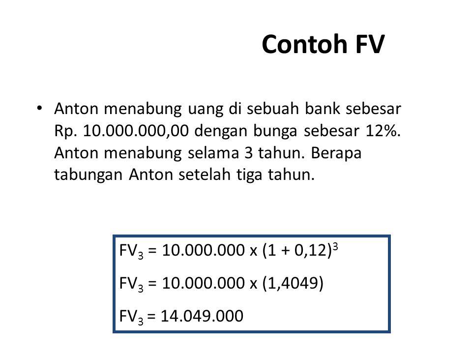 Contoh FV Anton menabung uang di sebuah bank sebesar Rp. 10.000.000,00 dengan bunga sebesar 12%. Anton menabung selama 3 tahun. Berapa tabungan Anton