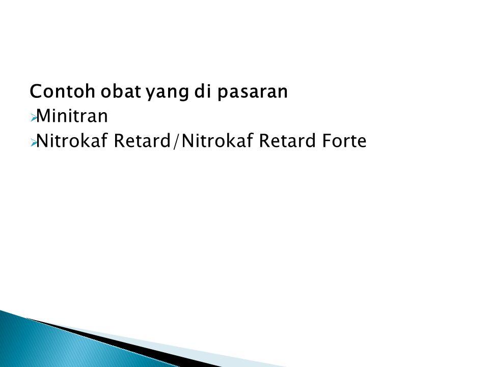 Contoh obat yang di pasaran  Minitran  Nitrokaf Retard/Nitrokaf Retard Forte