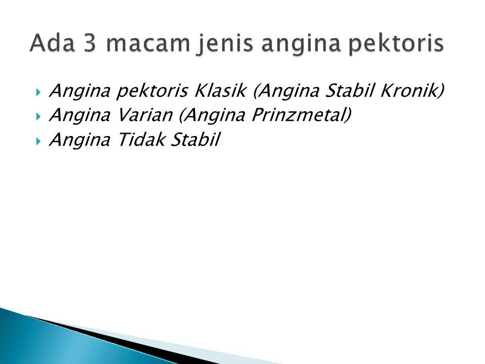  Angina pektoris Klasik (Angina Stabil Kronik)  Angina Varian (Angina Prinzmetal)  Angina Tidak Stabil