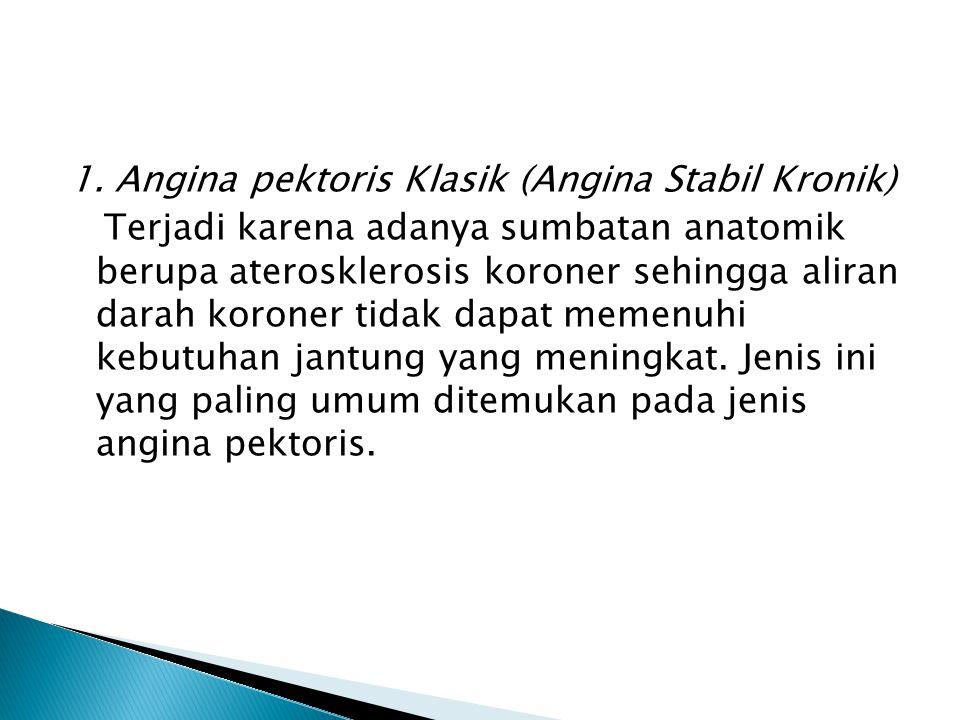 1. Angina pektoris Klasik (Angina Stabil Kronik) Terjadi karena adanya sumbatan anatomik berupa aterosklerosis koroner sehingga aliran darah koroner t