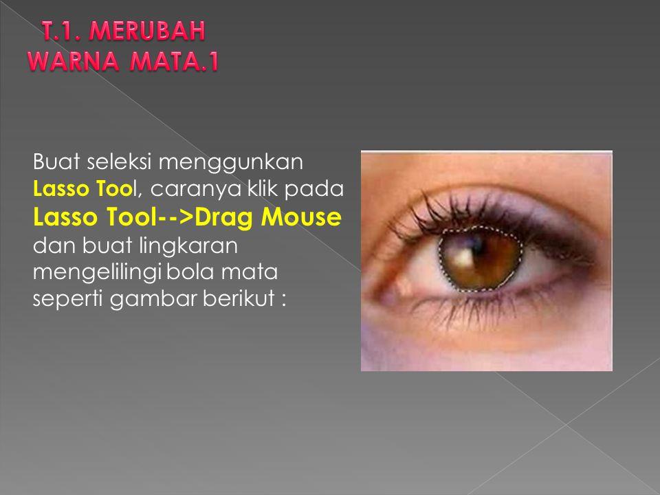 Buat seleksi menggunkan Lasso Too l, caranya klik pada Lasso Tool-->Drag Mouse dan buat lingkaran mengelilingi bola mata seperti gambar berikut :