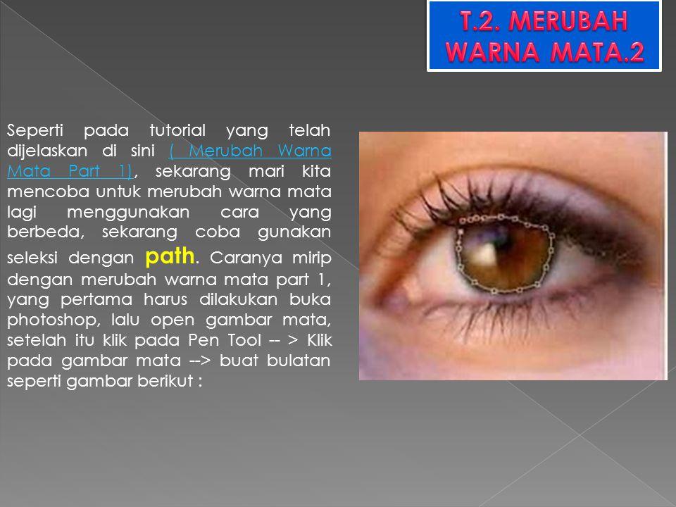Seperti pada tutorial yang telah dijelaskan di sini ( Merubah Warna Mata Part 1), sekarang mari kita mencoba untuk merubah warna mata lagi menggunakan