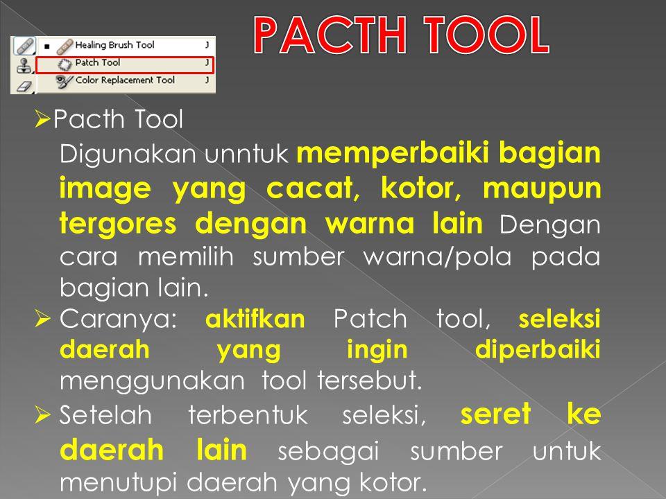  Pacth Tool Digunakan unntuk memperbaiki bagian image yang cacat, kotor, maupun tergores dengan warna lain Dengan cara memilih sumber warna/pola pada