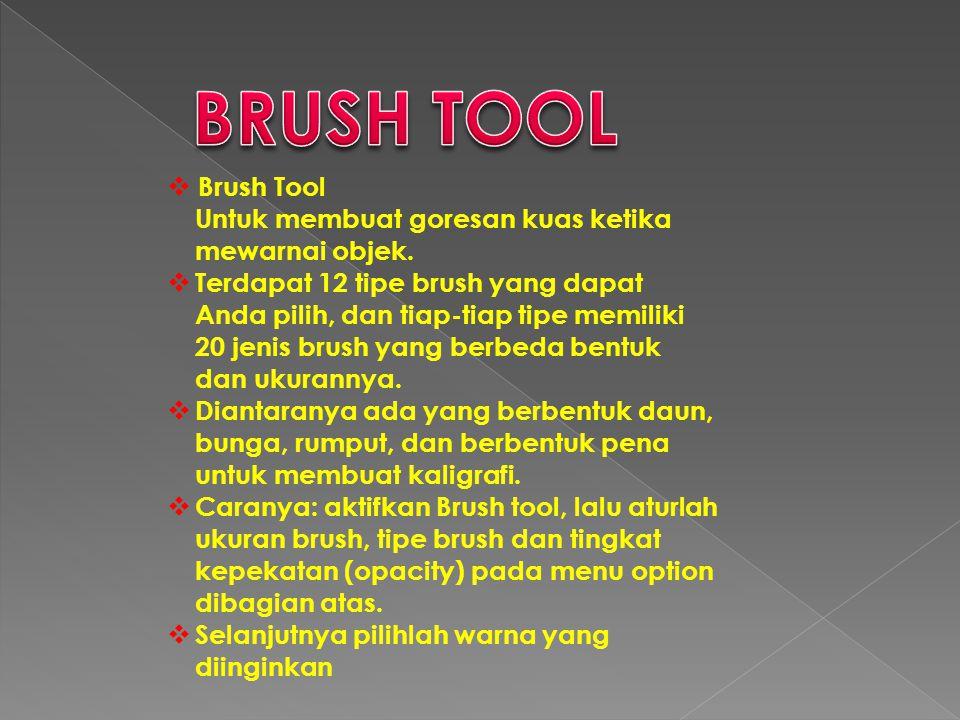  Brush Tool Untuk membuat goresan kuas ketika mewarnai objek.  Terdapat 12 tipe brush yang dapat Anda pilih, dan tiap-tiap tipe memiliki 20 jenis br