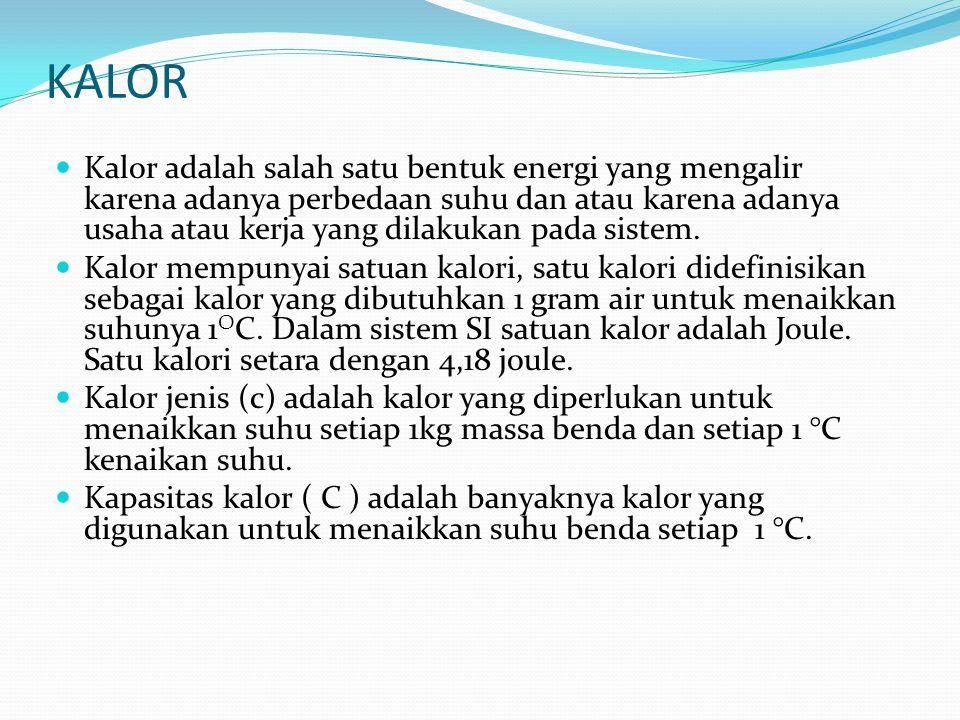 KALOR Kalor adalah salah satu bentuk energi yang mengalir karena adanya perbedaan suhu dan atau karena adanya usaha atau kerja yang dilakukan pada sis