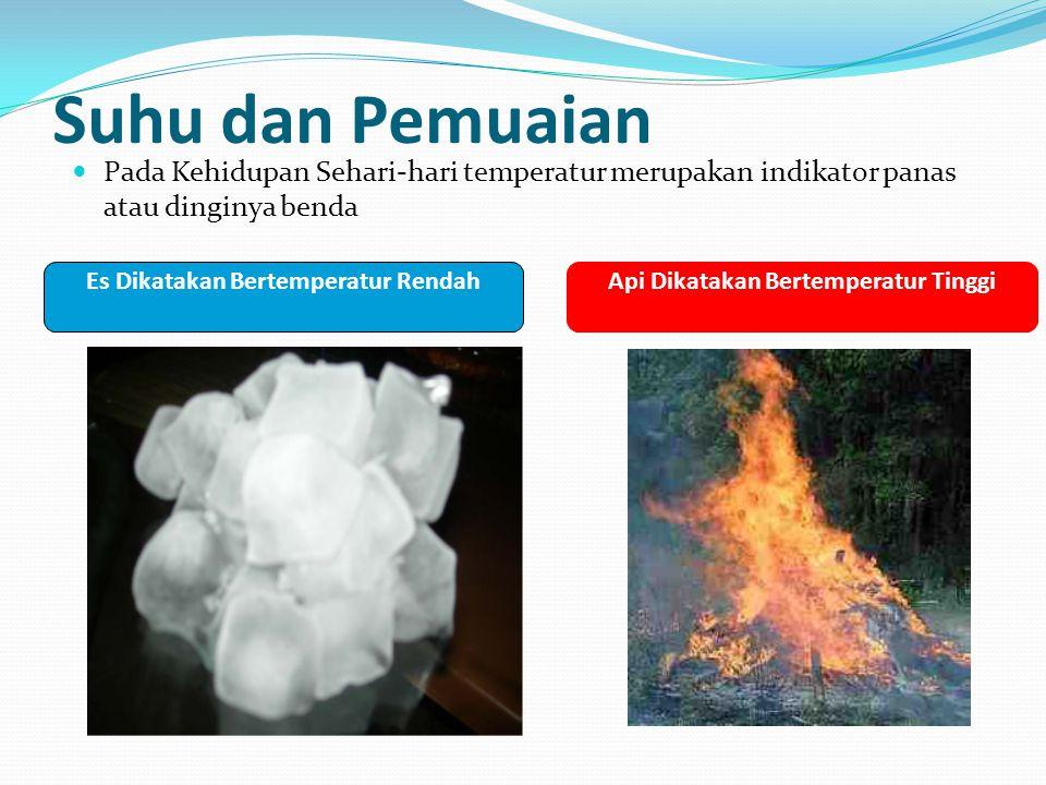 Suhu dan Pemuaian Pada Kehidupan Sehari-hari temperatur merupakan indikator panas atau dinginya benda Es Dikatakan Bertemperatur RendahApi Dikatakan B