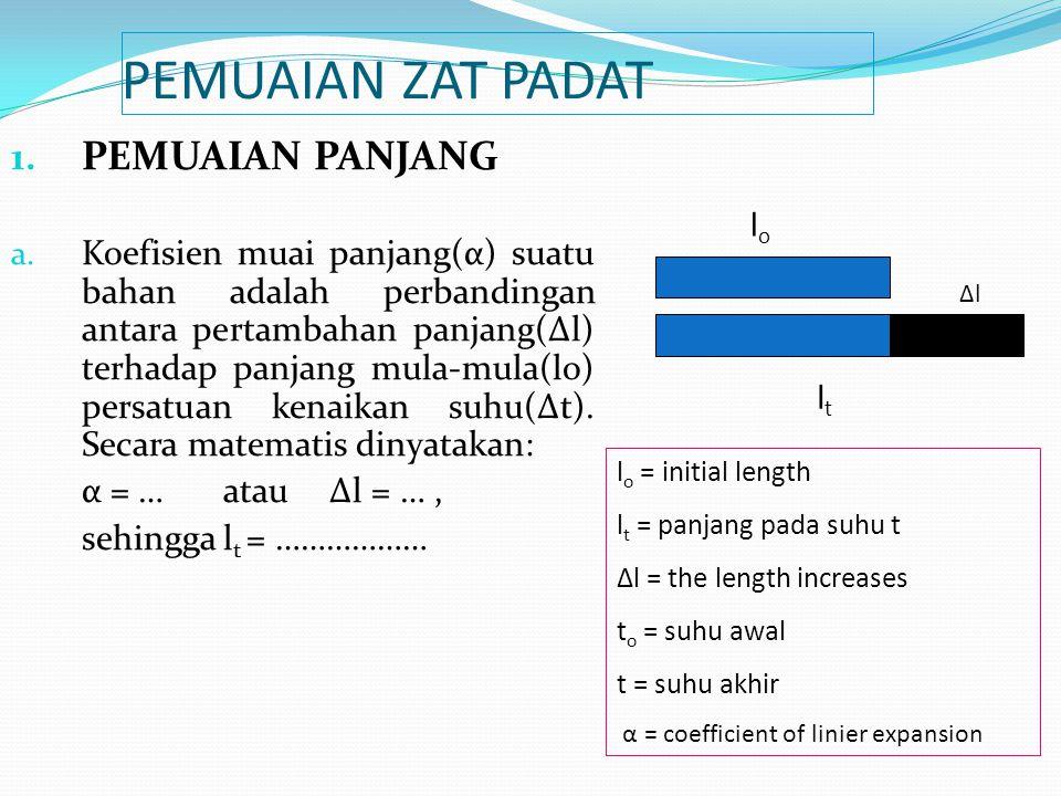 PEMUAIAN ZAT PADAT 1. PEMUAIAN PANJANG a. Koefisien muai panjang(α) suatu bahan adalah perbandingan antara pertambahan panjang(Δl) terhadap panjang mu