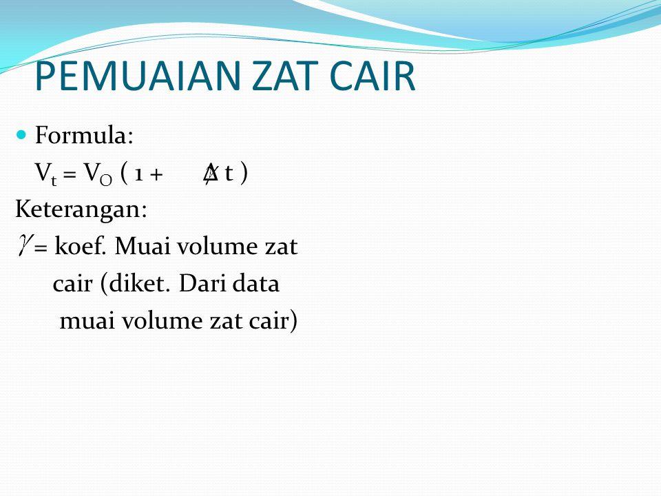 PEMUAIAN ZAT CAIR Formula: V t = V O ( 1 + Δ t ) Keterangan: = koef. Muai volume zat cair (diket. Dari data muai volume zat cair)