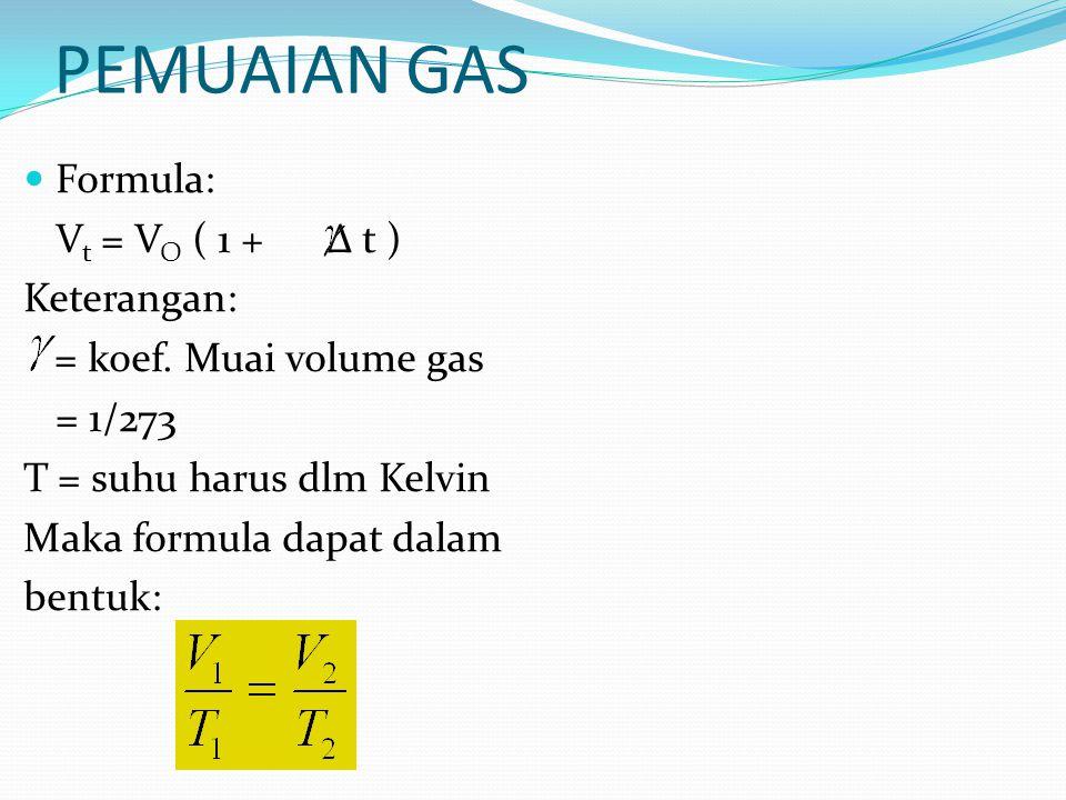 PEMUAIAN GAS Formula: V t = V O ( 1 + Δ t ) Keterangan: = koef. Muai volume gas = 1/273 T = suhu harus dlm Kelvin Maka formula dapat dalam bentuk: