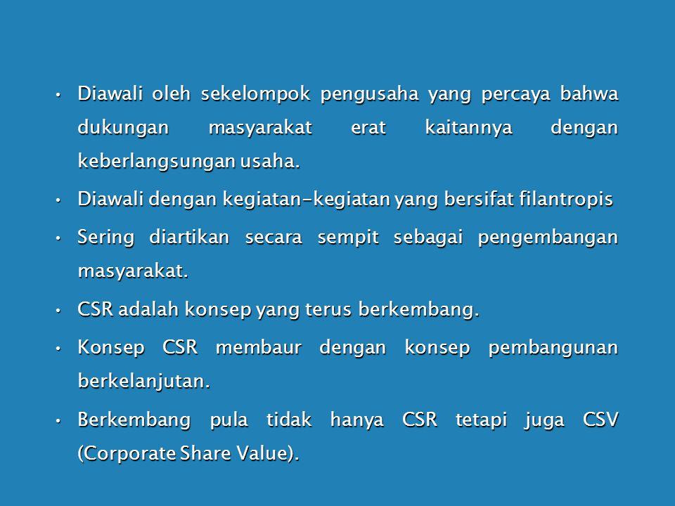 CSR lahir dari desakan masyarakat atas perilaku perusahaan yang mengabaikan tanggung jawab sosial seperti perusakan lingkungan, eksploitasi sumber day
