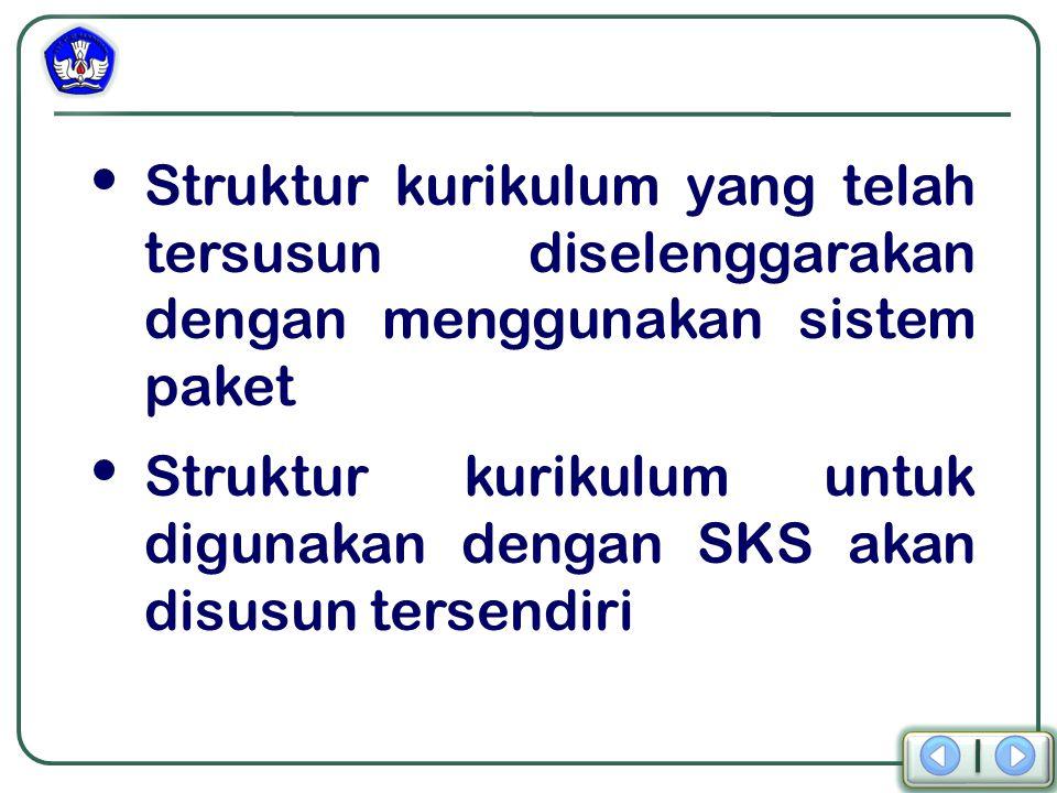 Struktur kurikulum yang telah tersusun diselenggarakan dengan menggunakan sistem paket Struktur kurikulum untuk digunakan dengan SKS akan disusun tersendiri