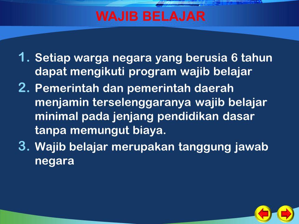 WAJIB BELAJAR 1. Setiap warga negara yang berusia 6 tahun dapat mengikuti program wajib belajar 2. Pemerintah dan pemerintah daerah menjamin terseleng