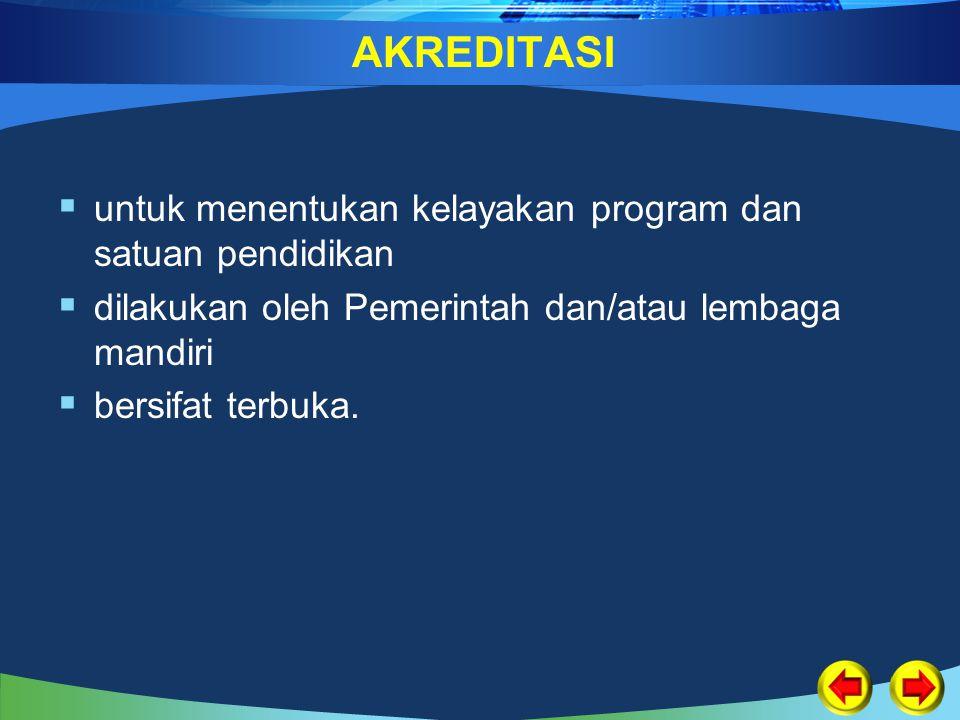 AKREDITASI  untuk menentukan kelayakan program dan satuan pendidikan  dilakukan oleh Pemerintah dan/atau lembaga mandiri  bersifat terbuka.