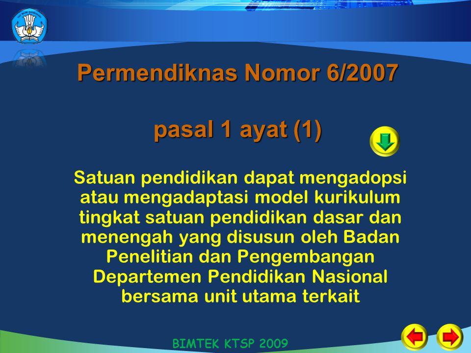 Permendiknas Nomor 6/2007 pasal 1 ayat (1) Satuan pendidikan dapat mengadopsi atau mengadaptasi model kurikulum tingkat satuan pendidikan dasar dan me