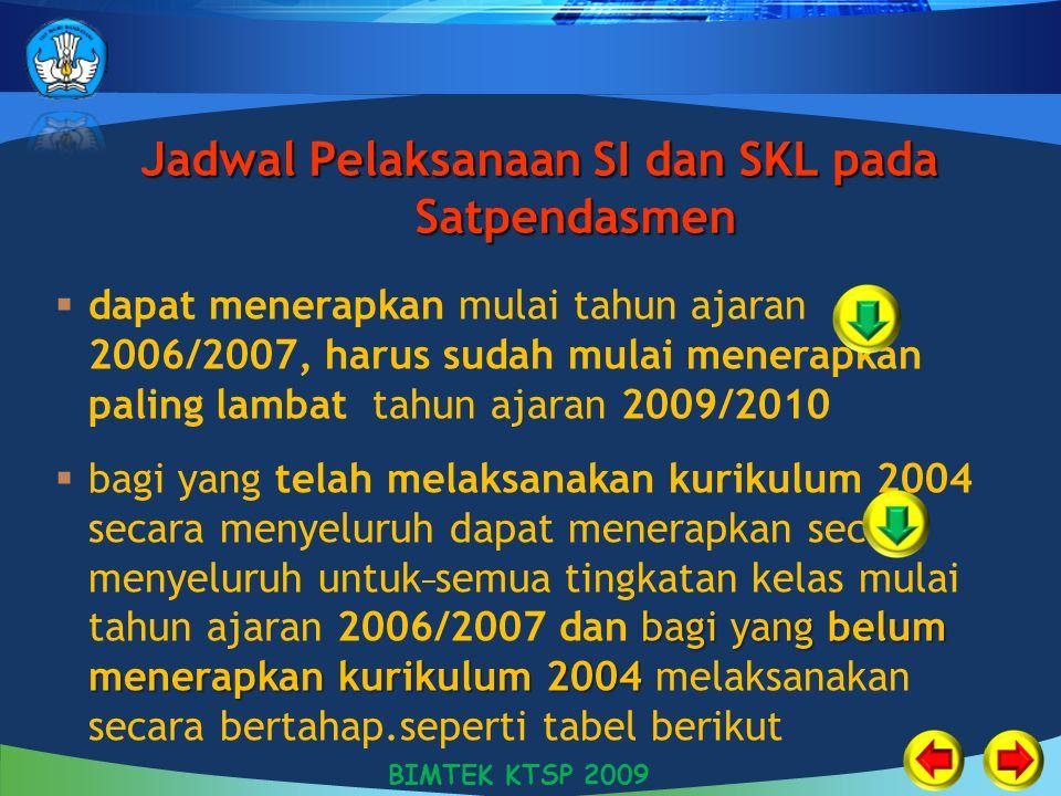 Jadwal Pelaksanaan SI dan SKL pada Satpendasmen  dapat menerapkan mulai tahun ajaran 2006/2007, harus sudah mulai menerapkan paling lambat tahun ajar