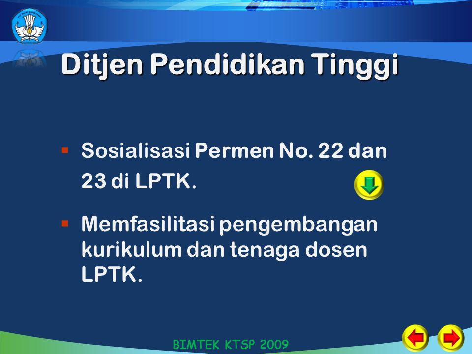 Ditjen Pendidikan Tinggi  Sosialisasi Permen No. 22 dan 23 di LPTK.  Memfasilitasi pengembangan kurikulum dan tenaga dosen LPTK. BIMTEK KTSP 2009