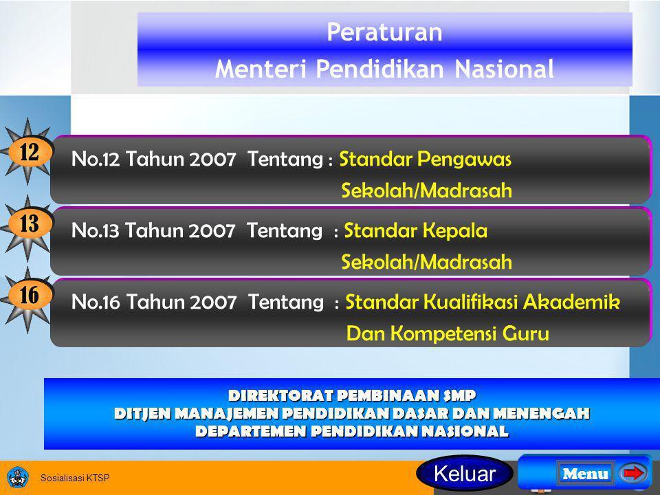Sosialisasi KTSP DIREKTORAT PEMBINAAN SMP DITJEN MANAJEMEN PENDIDIKAN DASAR DAN MENENGAH DEPARTEMEN PENDIDIKAN NASIONAL Peraturan Menteri Pendidikan Nasional 13 No.13 Tahun 2007 Tentang : Standar Kepala Sekolah/Madrasah 16 No.16 Tahun 2007 Tentang : Standar Kualifikasi Akademik Dan Kompetensi Guru 12 No.12 Tahun 2007 Tentang : Standar Pengawas Sekolah/Madrasah Menu Keluar