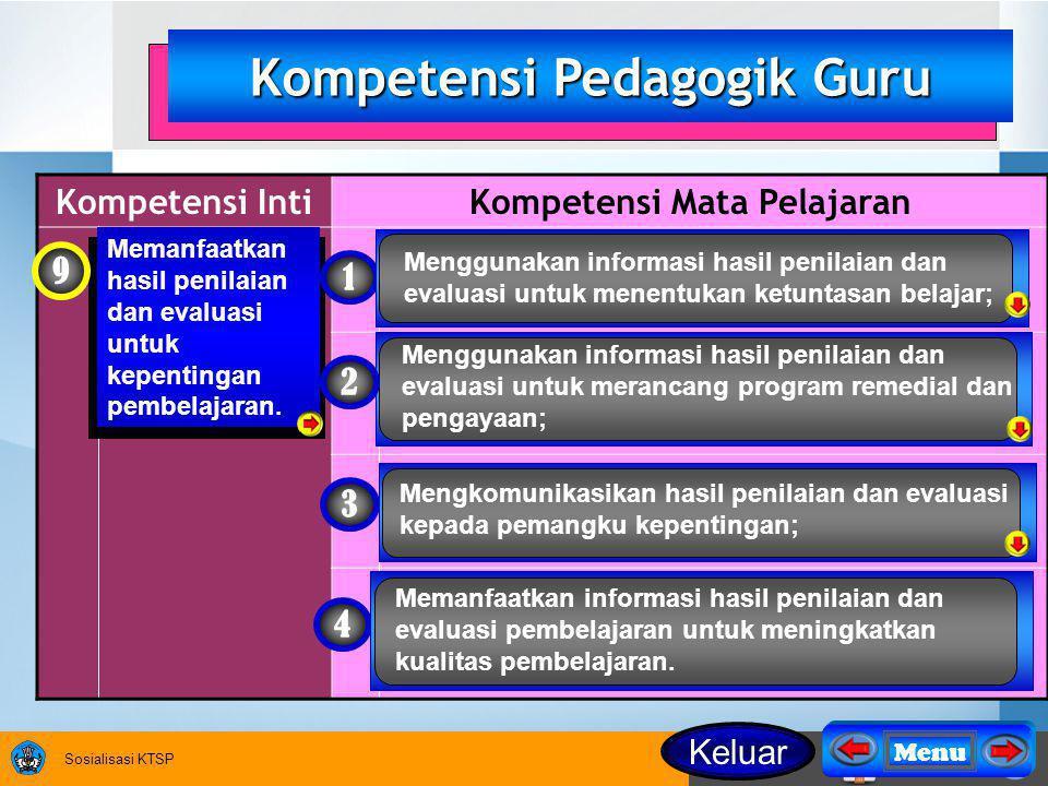 Sosialisasi KTSP Kompetensi IntiKompetensi Mata Pelajaran Memanfaatkan hasil penilaian dan evaluasi untuk kepentingan pembelajaran.