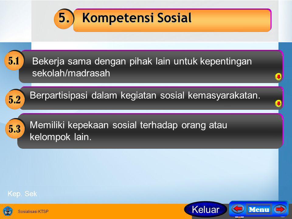 Sosialisasi KTSP 5.1 Bekerja sama dengan pihak lain untuk kepentingan sekolah/madrasah Berpartisipasi dalam kegiatan sosial kemasyarakatan.