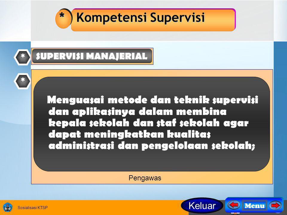 Sosialisasi KTSP * * Kompetensi Supervisi Menguasai metode dan teknik supervisi dan aplikasinya dalam membina kepala sekolah dan staf sekolah agar dapat meningkatkan kualitas administrasi dan pengelolaan sekolah; * SUPERVISI MANAJERIAL Pengawas Keluar Menu