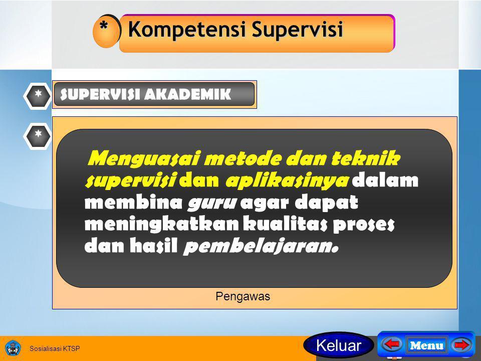 Sosialisasi KTSP * Kompetensi Supervisi * SUPERVISI AKADEMIK * Menguasai metode dan teknik supervisi dan aplikasinya dalam membina guru agar dapat meningkatkan kualitas proses dan hasil pembelajaran.