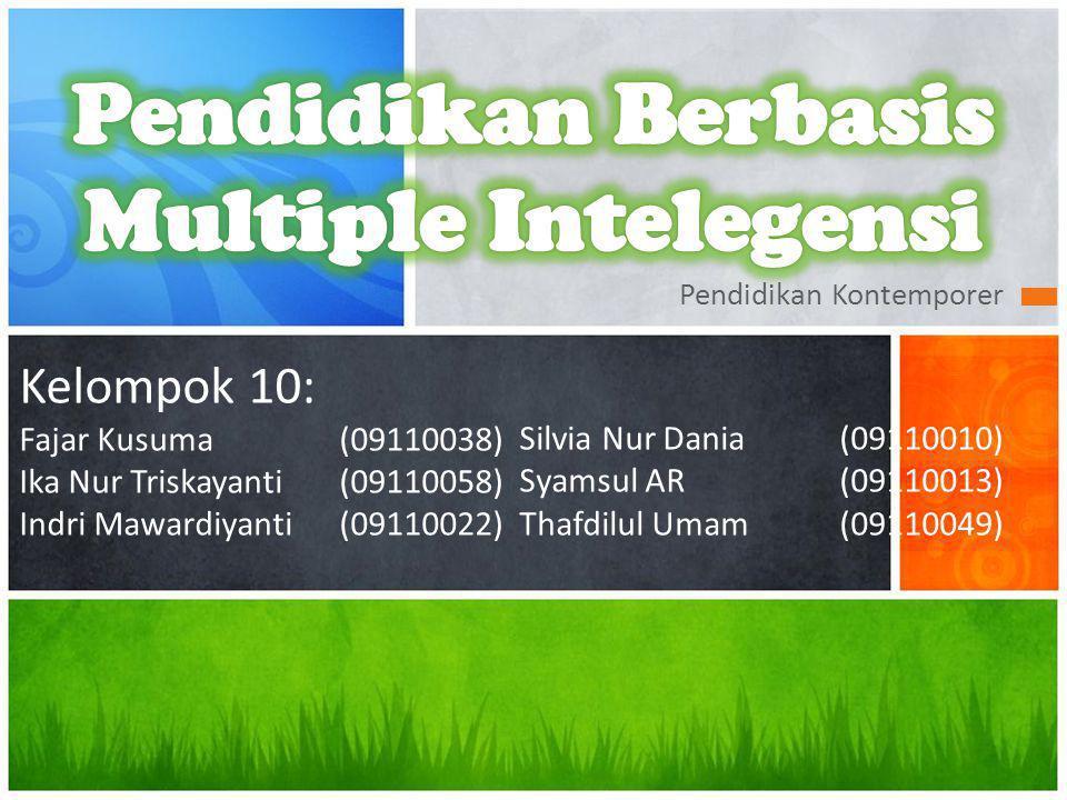 Pendidikan Kontemporer Kelompok 10: Fajar Kusuma(09110038) Ika Nur Triskayanti(09110058) Indri Mawardiyanti (09110022) Silvia Nur Dania(09110010) Syamsul AR(09110013) Thafdilul Umam(09110049)