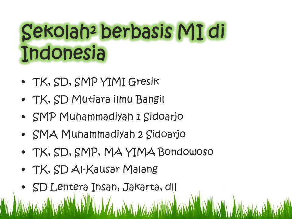 TK, SD, SMP YIMI Gresik TK, SD Mutiara ilmu Bangil SMP Muhammadiyah 1 Sidoarjo SMA Muhammadiyah 2 Sidoarjo TK, SD, SMP, MA YIMA Bondowoso TK, SD Al-Kausar Malang SD Lentera Insan, Jakarta, dll