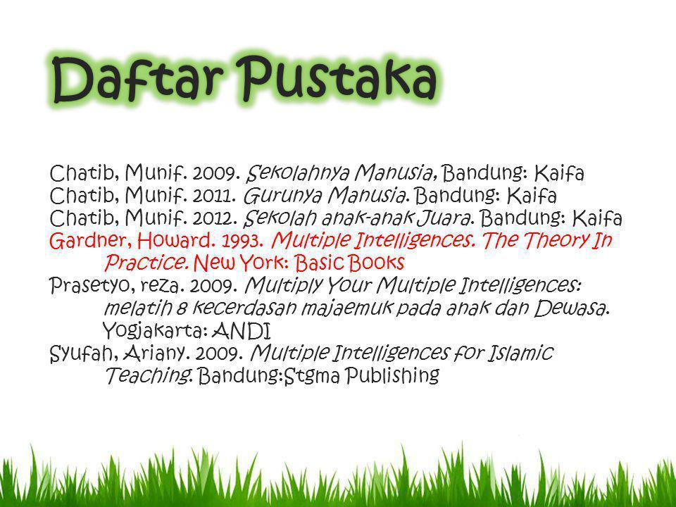 Chatib, Munif. 2009. Sekolahnya Manusia, Bandung: Kaifa Chatib, Munif. 2011. Gurunya Manusia. Bandung: Kaifa Chatib, Munif. 2012. Sekolah anak-anak Ju