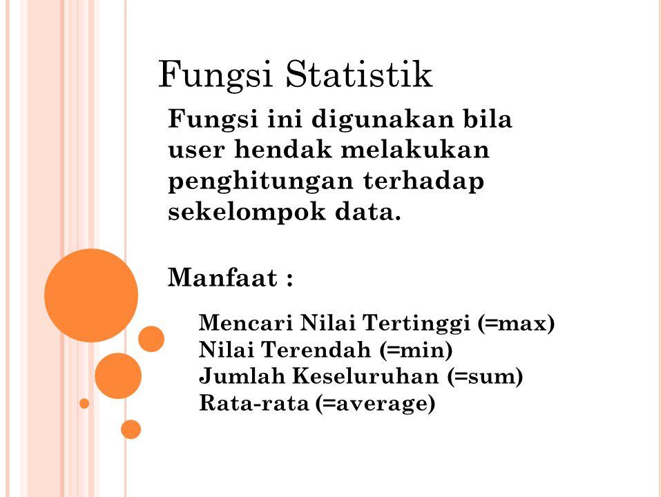 Fungsi Statistik Fungsi ini digunakan bila user hendak melakukan penghitungan terhadap sekelompok data. Manfaat : Mencari Nilai Tertinggi (=max) Nilai