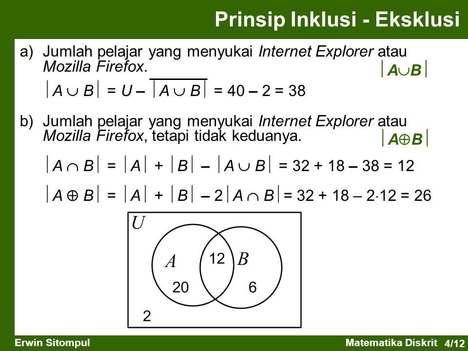 4/12 Erwin SitompulMatematika Diskrit a) Jumlah pelajar yang menyukai Internet Explorer atau Mozilla Firefox.  A  B  = U –  A  B  = 40 – 2 = 38