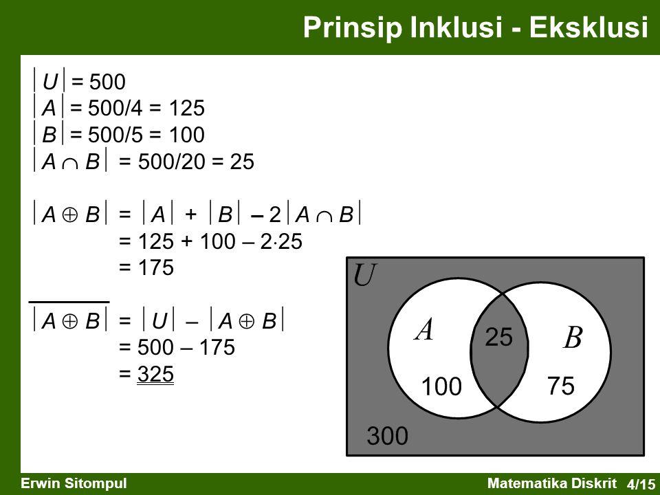 4/15 Erwin SitompulMatematika Diskrit  U  = 500  A  = 500/4 = 125  B  = 500/5 = 100  A  B  = 500/20 = 25  A  B  =  A  +  B  – 2  A 