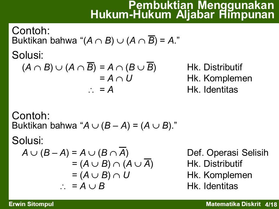 "4/18 Erwin SitompulMatematika Diskrit Contoh: Buktikan bahwa ""(A  B)  (A  B) = A."" Solusi: (A  B)  (A  B) = A  (B  B) Hk. Distributif = A  UH"