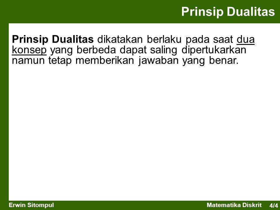 4/4 Erwin SitompulMatematika Diskrit Prinsip Dualitas Prinsip Dualitas dikatakan berlaku pada saat dua konsep yang berbeda dapat saling dipertukarkan