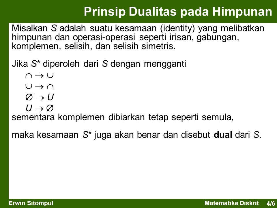 4/6 Erwin SitompulMatematika Diskrit Misalkan S adalah suatu kesamaan (identity) yang melibatkan himpunan dan operasi-operasi seperti irisan, gabungan