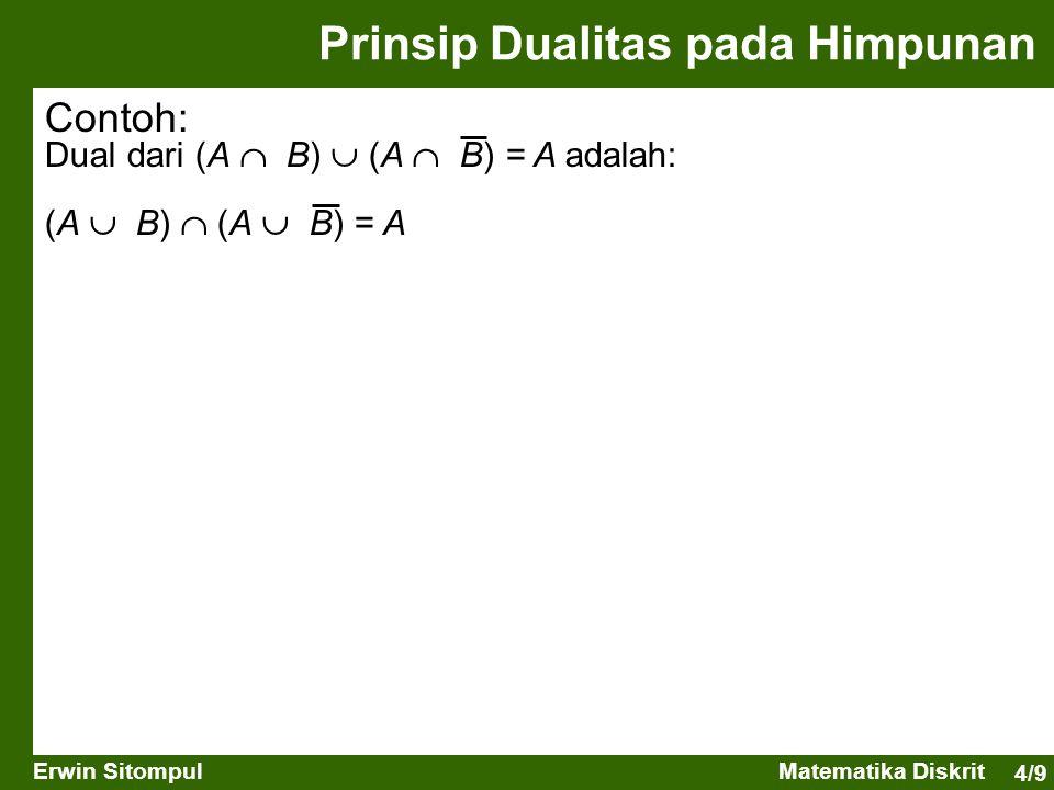 4/9 Erwin SitompulMatematika Diskrit Prinsip Dualitas pada Himpunan Contoh: Dual dari (A  B)  (A  B) = A adalah: (A  B)  (A  B) = A