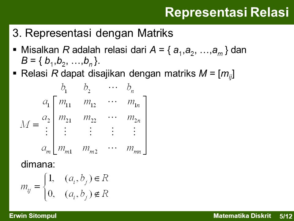 5/12 Erwin SitompulMatematika Diskrit Representasi Relasi 3. Representasi dengan Matriks  Misalkan R adalah relasi dari A = { a 1,a 2, …,a m } dan B