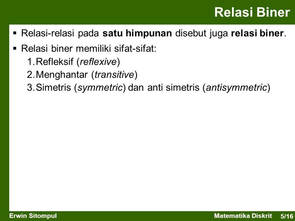 5/16 Erwin SitompulMatematika Diskrit  Relasi-relasi pada satu himpunan disebut juga relasi biner.  Relasi biner memiliki sifat-sifat: 1.Refleksif (
