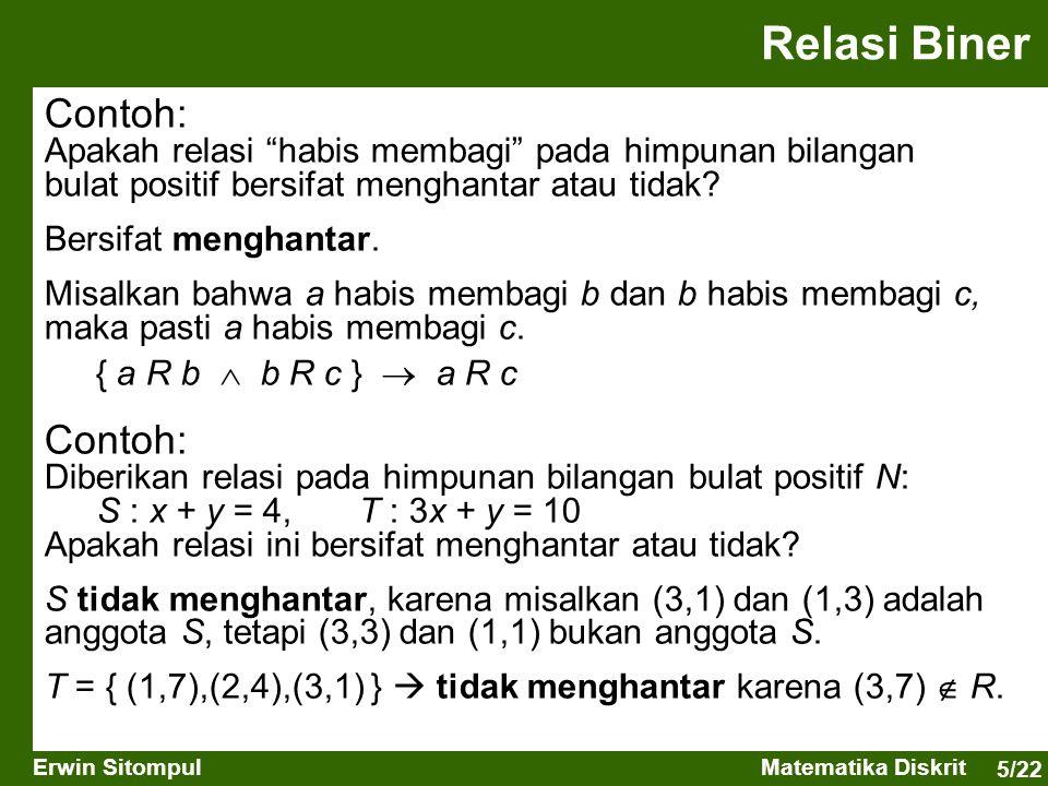 "5/22 Erwin SitompulMatematika Diskrit Contoh: Apakah relasi ""habis membagi"" pada himpunan bilangan bulat positif bersifat menghantar atau tidak? Bersi"
